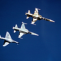 Two F-5 Tiger IIs And An A-4e Skyhawk by Dave Baranek
