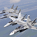 Two Fa-18 Hornets And Two F-15 Strike by Stocktrek Images