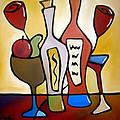 Two-fer - Abstract Wine Art By Fidostudio by Tom Fedro - Fidostudio