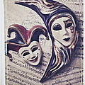 Two Masks On Sheet Music by Garry Gay