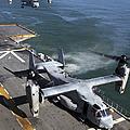 Two Mv-22 Ospreys Land On The Flight by Stocktrek Images