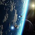 Two Survey Craft Orbit A Terrestrial by Brian Christensen