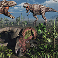 Two T. Rex Dinosaurs Confront Each by Mark Stevenson