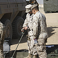 Two U.s. Marines Use A Mine Detector by Terry Moore