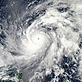 Typhoon Sanba Over The Pacific Ocean by Stocktrek Images