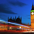 Uk, England, London, Big Ben And Light Trails At Night by Tetra Images
