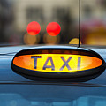 Uk, England, London, Sign On Taxi Cab by Tetra Images