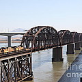 Union Pacific Locomotive Trains Riding Atop The Old Benicia-martinez Train Bridge . 5d18849 by Wingsdomain Art and Photography