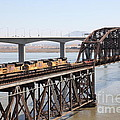 Union Pacific Locomotive Trains Riding Atop The Old Benicia-martinez Train Bridge . 5d18850 by Wingsdomain Art and Photography