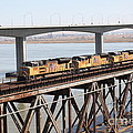 Union Pacific Locomotive Trains Riding Atop The Old Benicia-martinez Train Bridge . 5d18851 by Wingsdomain Art and Photography