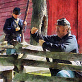Union Soldier Loading Rifle by Susan Savad