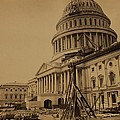 United States Capitol Building In 1863 by Everett
