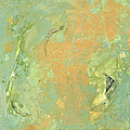 Untitled Abstract - Caramel Teal by Kathleen Grace