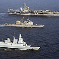 U.s. And French Navy Ships Transit by Stocktrek Images