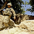 U.s. Army Soldier Climbs Down A Hill by Stocktrek Images