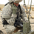 U.s. Army Soldier Performs A Radio by Stocktrek Images