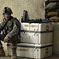 U.s. Army Soldier Relaxing Before Going by Stocktrek Images