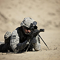 U.s. Army Soldier Sights In A Barrett by Terry Moore