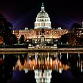 Us Capitol Building And Reflecting Pool At Fall Night 2 by Val Black Russian Tourchin
