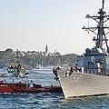 Us Cruiser Docking In Istanbul by Ian  MacDonald