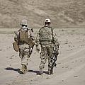 U.s. Marine And German Soldier Walk by Terry Moore