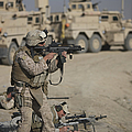 U.s. Marine Fires A G36k Carbine by Terry Moore