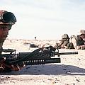 U.s. Marine Guards The Camp Perimeter by Stocktrek Images