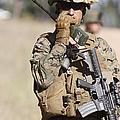 U.s. Marine Radios His Units Movements by Stocktrek Images