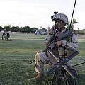 U.s. Marine Utilizes A Satellite Radio by Stocktrek Images