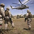 U.s. Marines Observe Ch-53e Super by Stocktrek Images