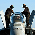 U.s. Navy Sailors Wipe Down The Canopy by Stocktrek Images