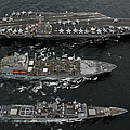 U.s. Navy Ships Conduct A Replenishment by Stocktrek Images