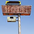 Usa, Arizona, Wakeup, Low Angle View Of Rusted Motel Sign by Bryan Mullennix