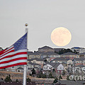Usa Flag And Moon by Cheryl McClure