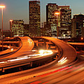 Usa, Texas, Houston City Skyline And Motorway, Dusk (long Exposure) by George Doyle