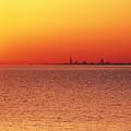 Usa,chicago,lake Michigan,orange Sunset,city Skyline In Distance by Frank Cezus