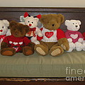 Valentine Teddy Bears In A Row  by Nancy Patterson