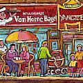 Van Horne Bagel Next To Yangste Restaurant Montreal Streetscene by Carole Spandau