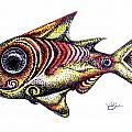 Variegated Red Fish In Stipple by J Vincent Scarpace