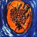 Victorian Contemporary Flowers In Blue And Orange Vortex Swirls Acrylic Monoprint Serigraph by M Zimmerman