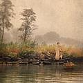 Victorian Lady By Row Boat by Jill Battaglia
