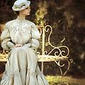 Victorian Lady On Garden Bench by Jill Battaglia