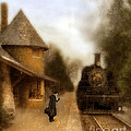 Victorian Woman At Train Station by Jill Battaglia
