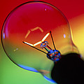 View Of An Lit Electric Light Bulb by Tek Image