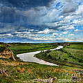 View Of River With Storm Clouds by Jill Battaglia