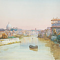View Of The Tevere From The Ponte Sisto  by Ettore Roesler Franz
