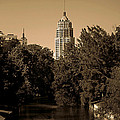 View Of The Tower Life Building And San Antonio River by Sarah Broadmeadow-Thomas