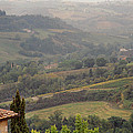 View Over The Tuscan Hills From San Gimignano Italy by Greg Matchick