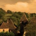 Village Of Castelnau Bretenoux In Sepia by Greg Matchick