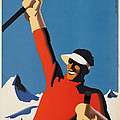 Vintage Austrian Skiing Travel Poster by George Pedro